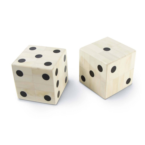 Oversized Bone Gaming Dice Pair